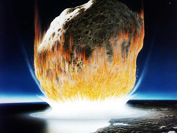 Image result for imagem de asteroide ckocando com a Terra